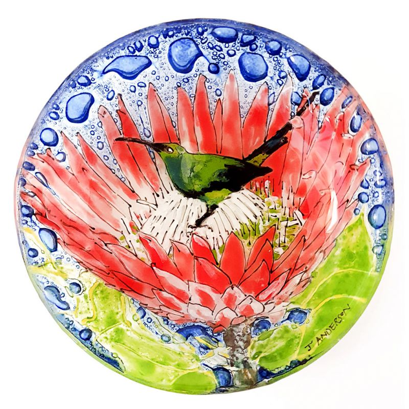 Glass Bowl - King Protea and Sunbird