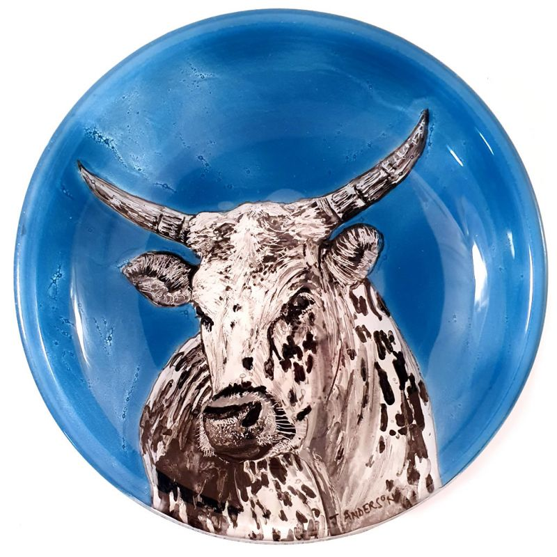 Glass Bowl - Nguni Cow on Blue