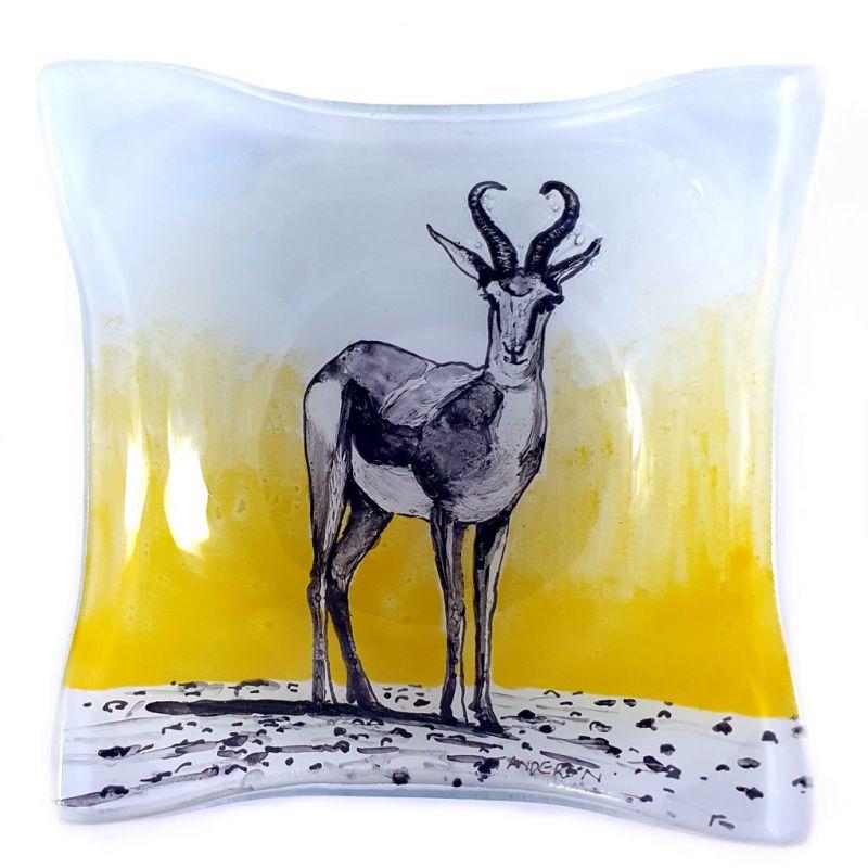Glass Bowl Square - Springbok on Yellow