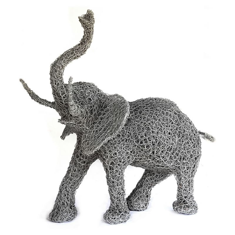 Elephant - Freestanding Sculpture - Random Wire