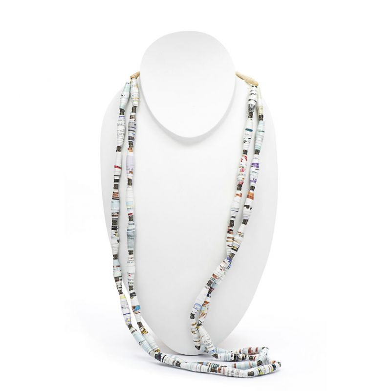 Necklace - Recycled Paper Bead - Long Double Strand