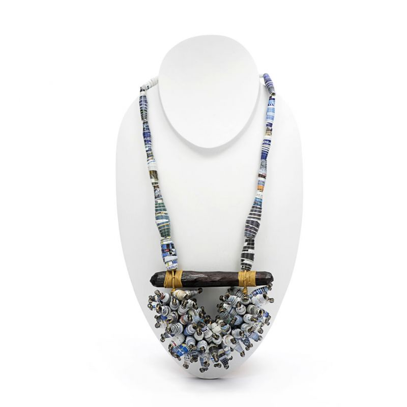 Necklace - Recycled Paper Bead and Wood Cluster