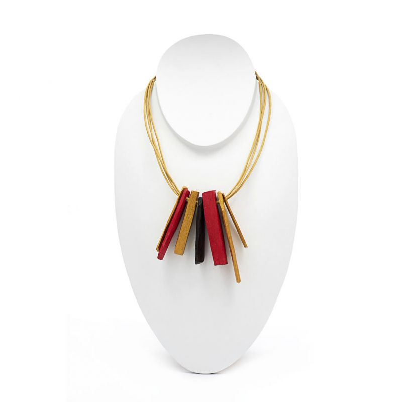 Necklace - Recycled Wood - Vertical Rays - Gold/Red