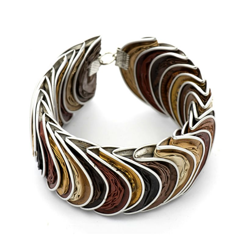 Bracelet - Recycled Coffee Pod - Folded - Gold Brown