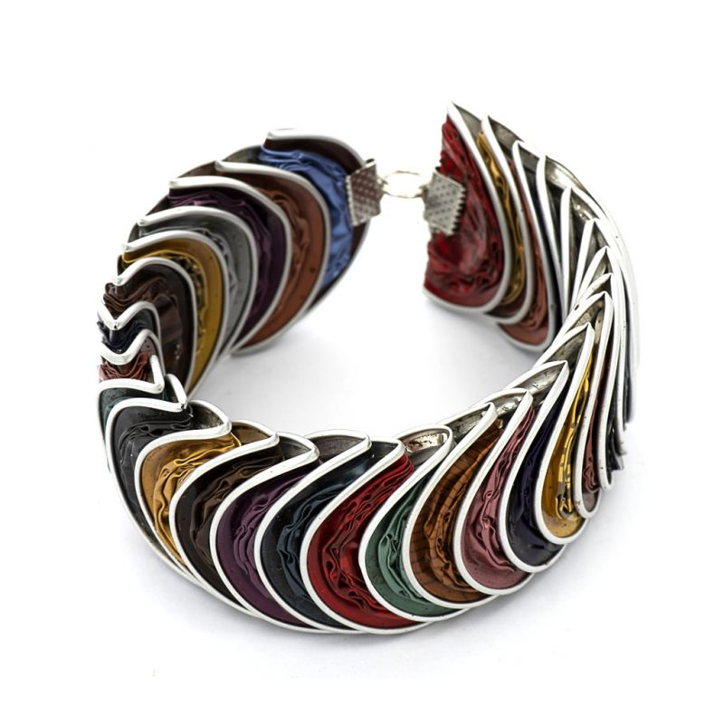 Bracelet - Recycled Coffee Pods - Folded Multi-colour
