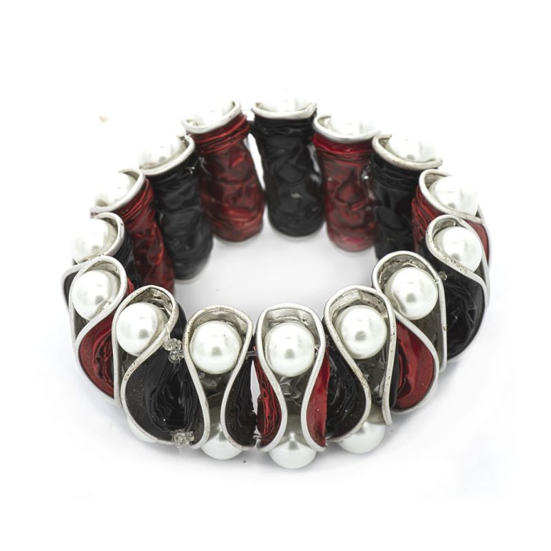 Bracelet - Recycled  Coffee Pod - Red Black