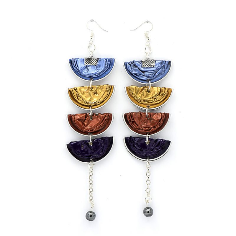Earrings - Recycled Coffee Pods - Bright Half Moons