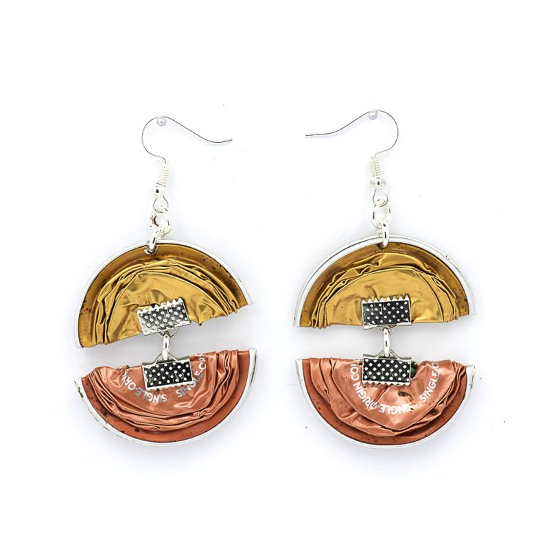 Earrings - Recycled Coffee Pods - Double Folded - Gold Copper