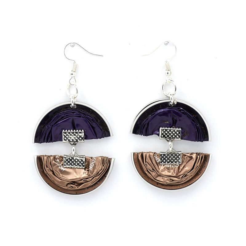 Earrings - Recycled Coffee Pods - Double Folded - Purple Grey