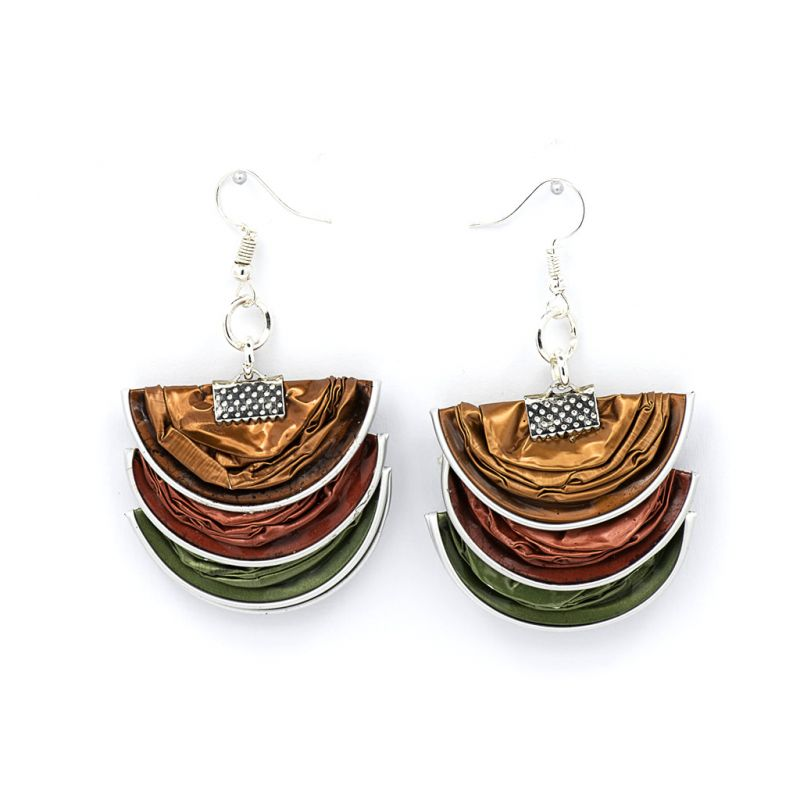 Earrings - Recycled Coffee Pods - Folded - Green, Brown, Red