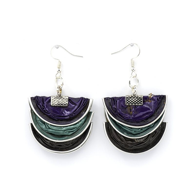 Earrings - Recycled Coffee Pods - Folded - Purple Green Grey