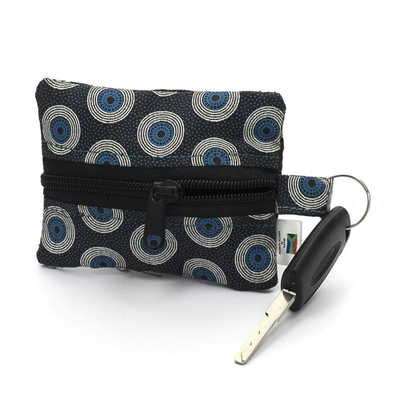 Keyring Purse - Shweshwe - Blue/Black