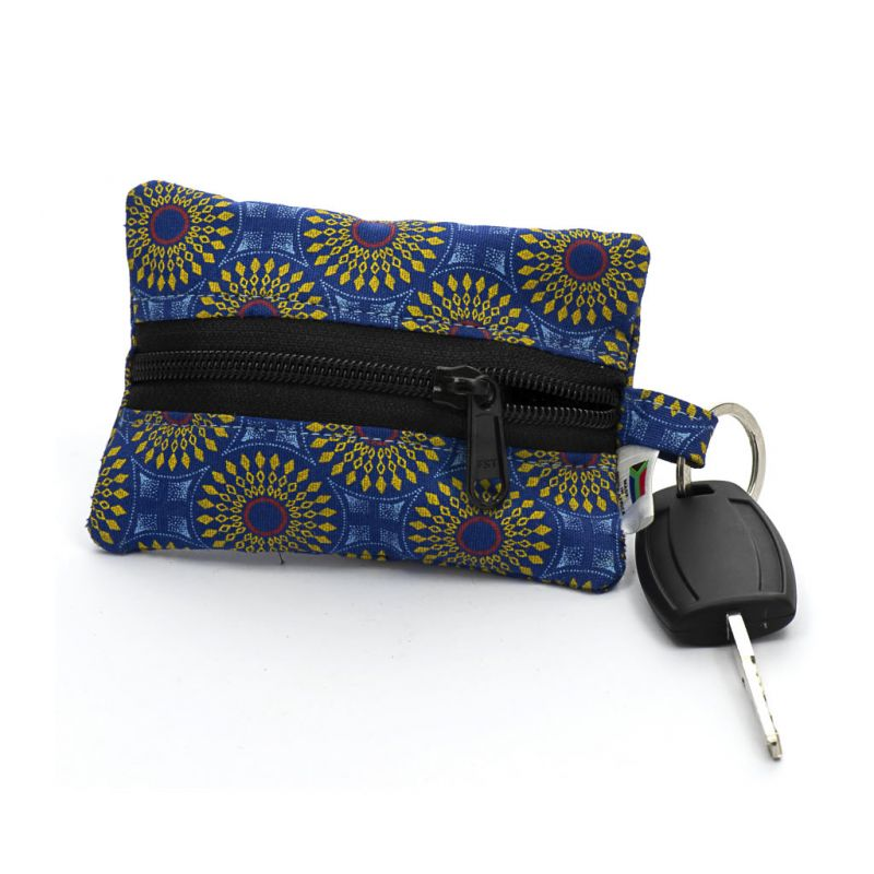 Keyring Purse - Shweshwe - Blue/Yellow