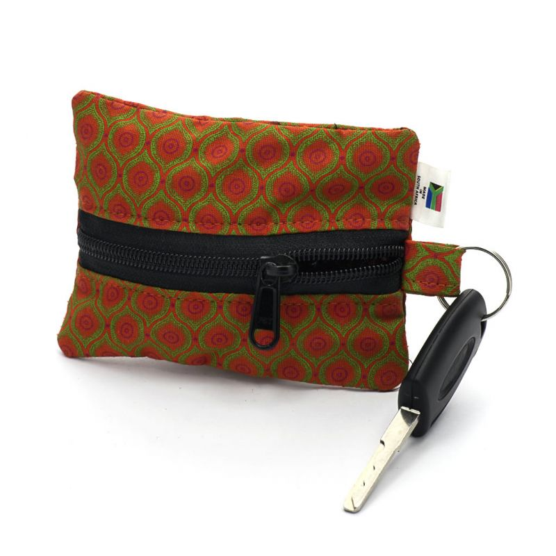 Keyring Purse - Shweshwe - Orange/Green