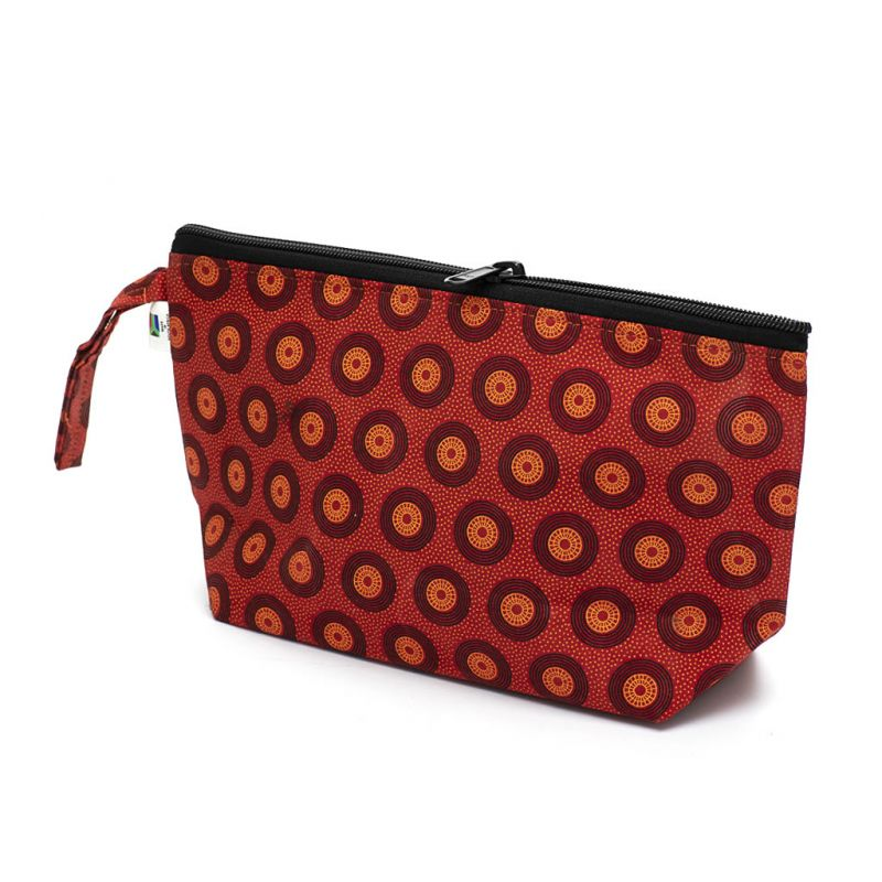 Shweshwe Toiletry Bag - Medium - Red
