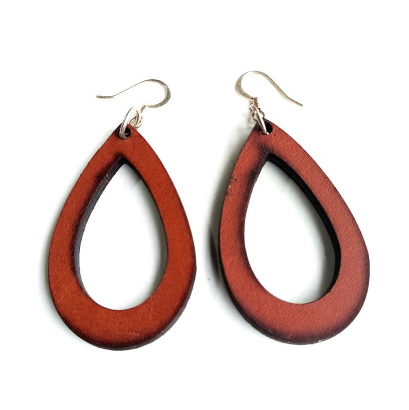 Leather Cutout Earrings - Chestnut