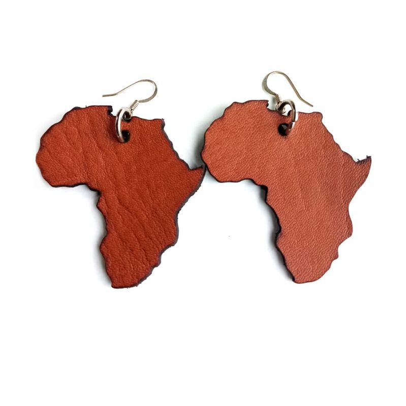 Leather Africa Drop Earrings