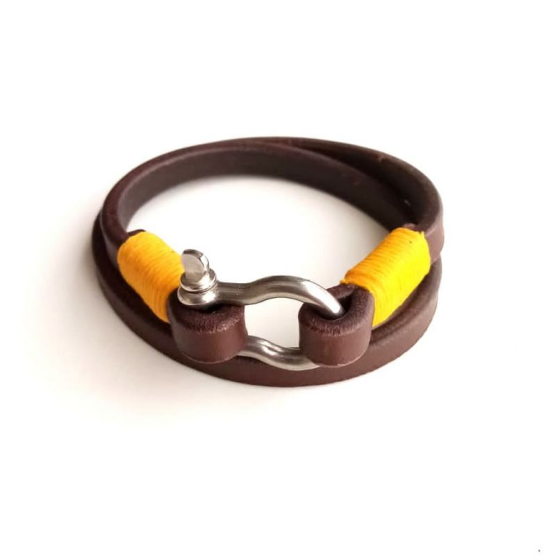 Leather (Double) Shackle Bracelet - Brown - Yellow Thread