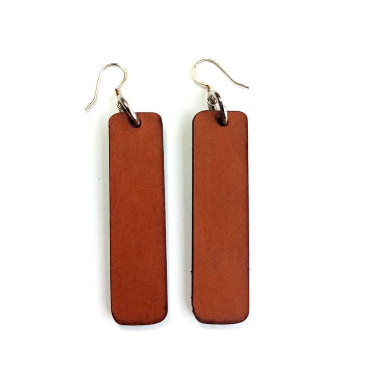 Leather Earrings - Bar - Chestnut