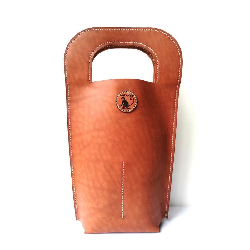Leather Wine Carrier - Chestnut