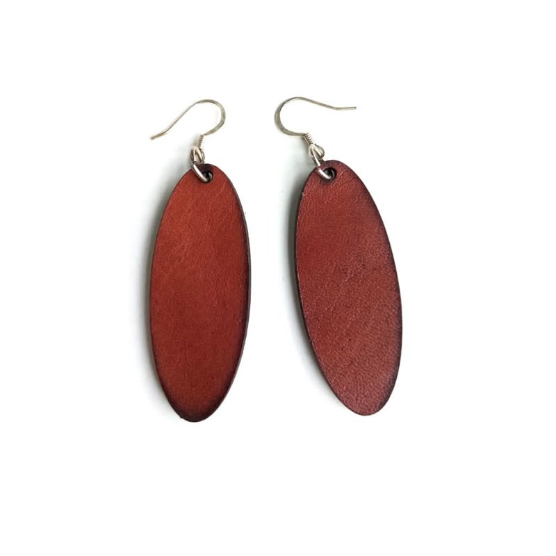 Leather Earrings - Murangani Oval - Chestnut