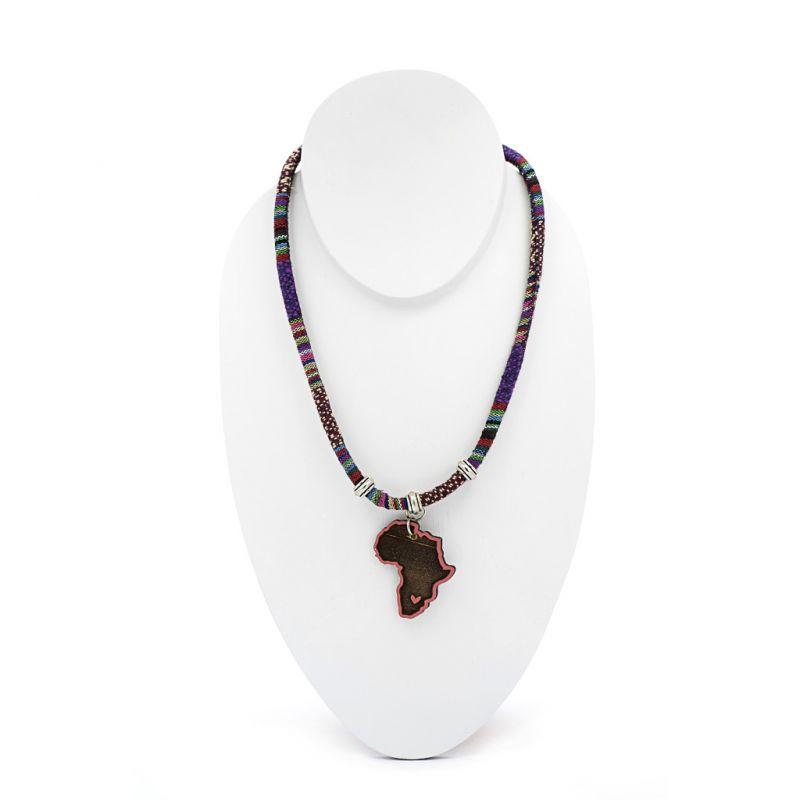 Necklace - Purple Fabric - Africa Pendant