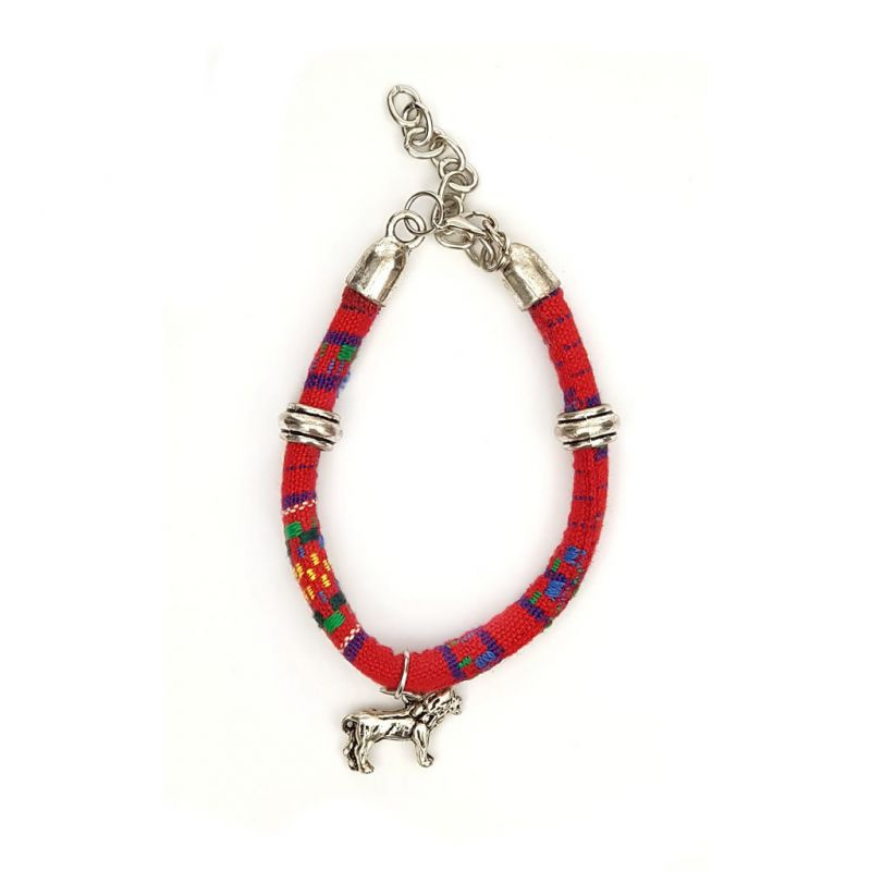 Bracelet - Lion Charm - Red Fabric