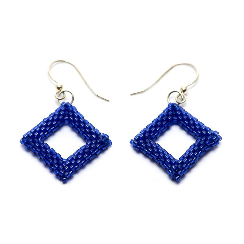 Earrings - Delicas Bead Open Diamond - Blue - Medium