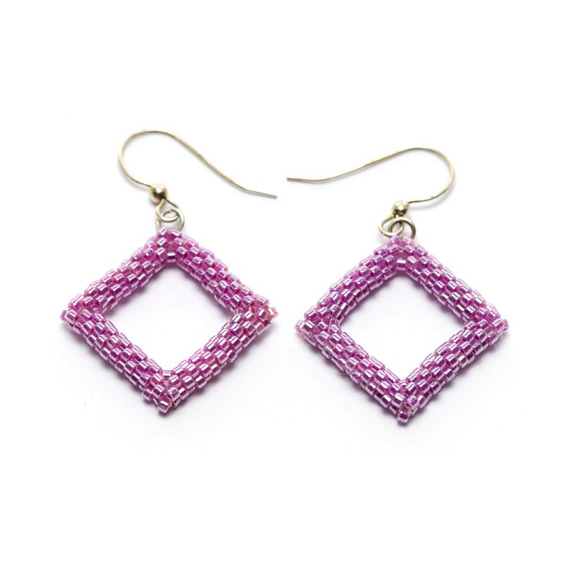 Earrings - Delicas Bead Open Diamond - Pink - Medium