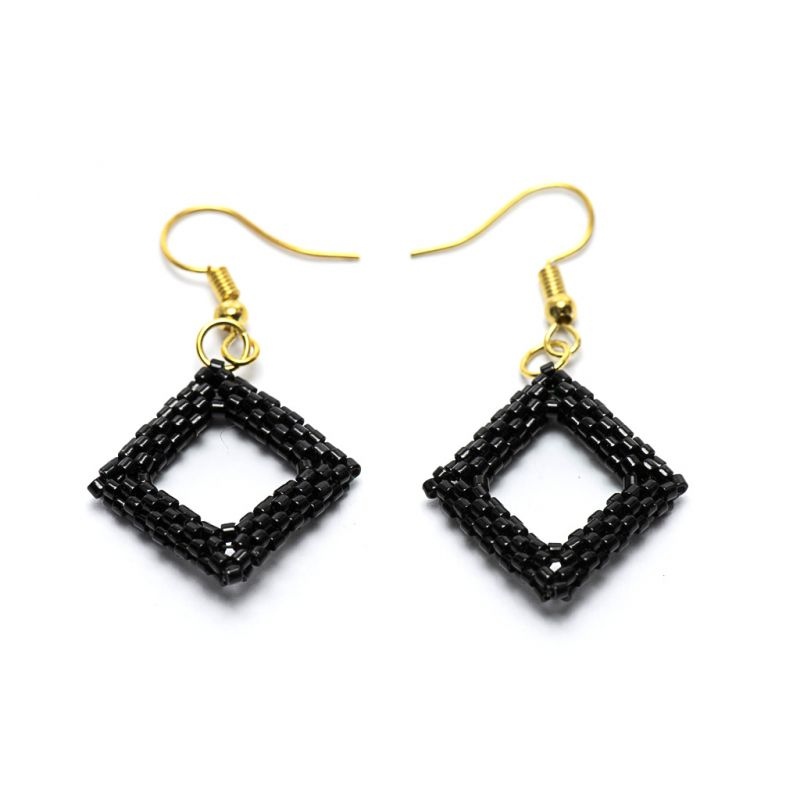 Earrings - Delicas Bead Open Diamond - Black - Small
