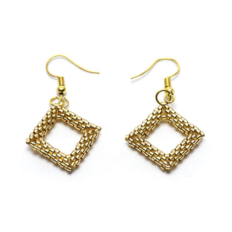 Earrings - Delicas Bead Open Diamond - Gold - Small