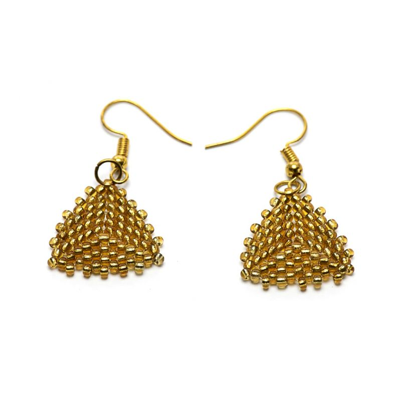 Earrings - Seed Bead Triangles - Gold - Small