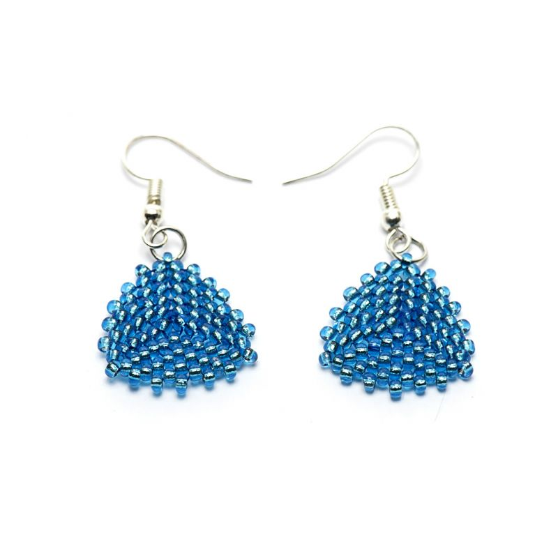 Earrings - Seed Bead Triangles - Turquoise - Small