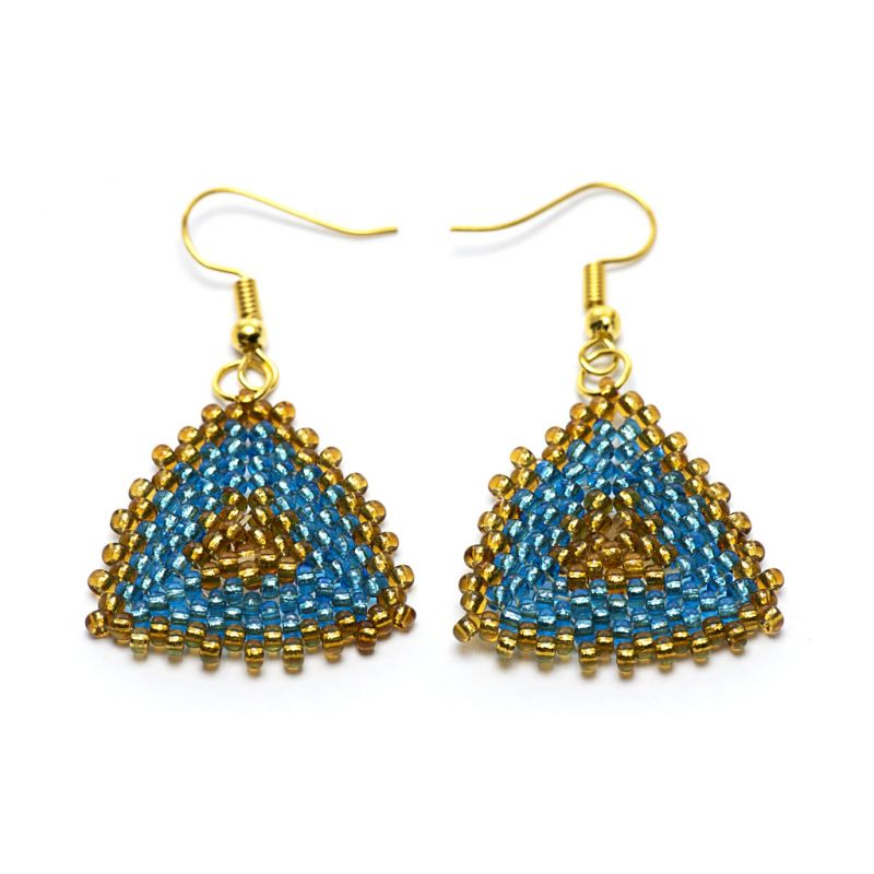 Earrings - Seed Bead Triangles - Turquoise & Gold - Medium