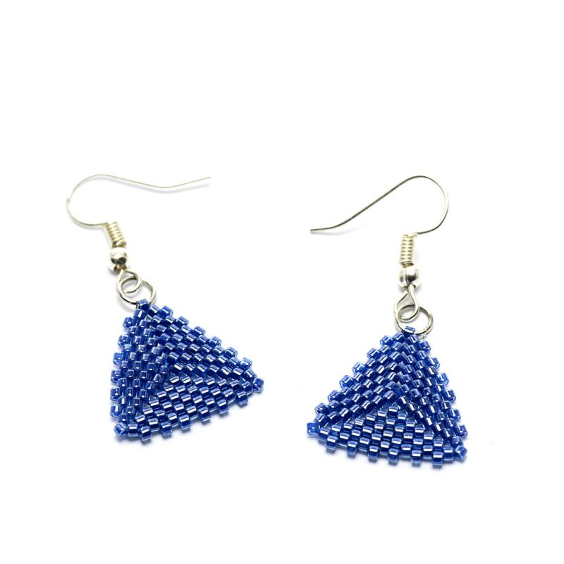 Earrings - Delicas Bead Triangles - Blue