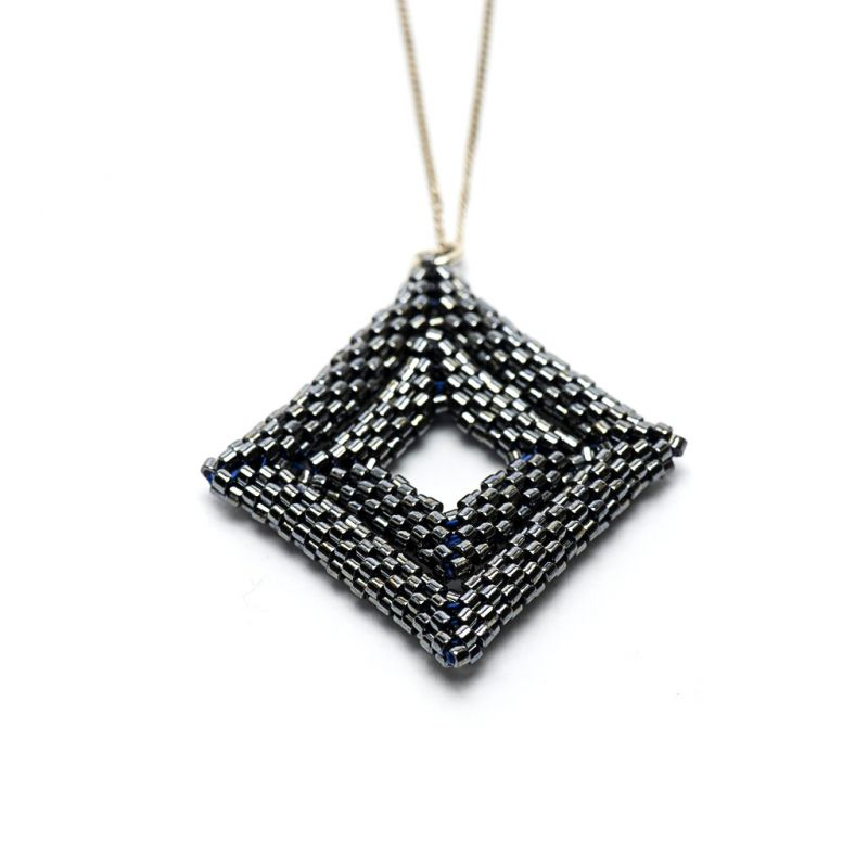Pendant - Delicas Bead Double Diamond - Black