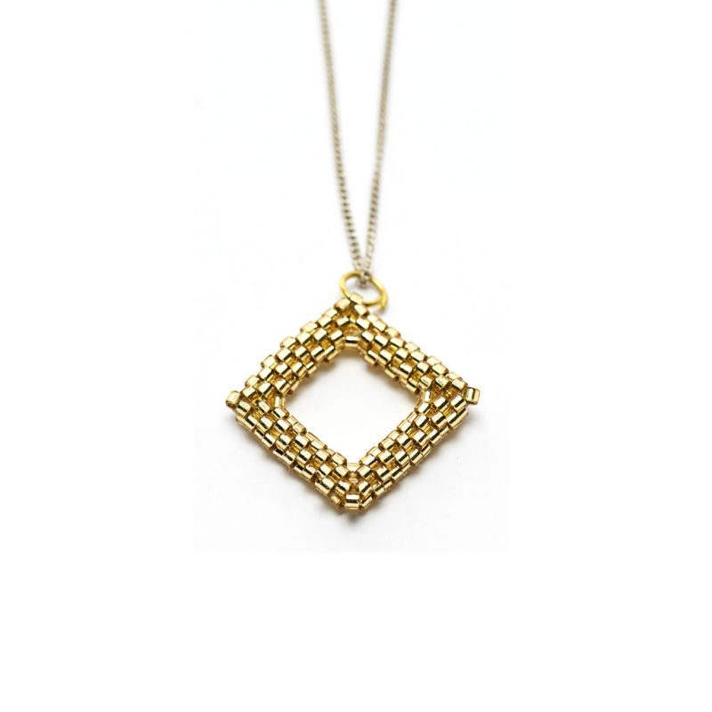 Pendant - Delicas Bead Open Diamond - Gold