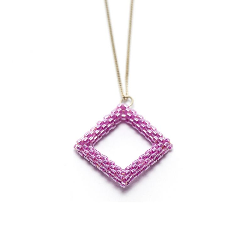 Pendant - Delicas Bead Open Diamond - Pink
