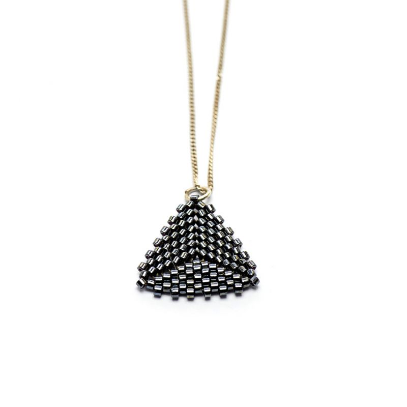 Pendant - Delicas Bead Triangle - Black