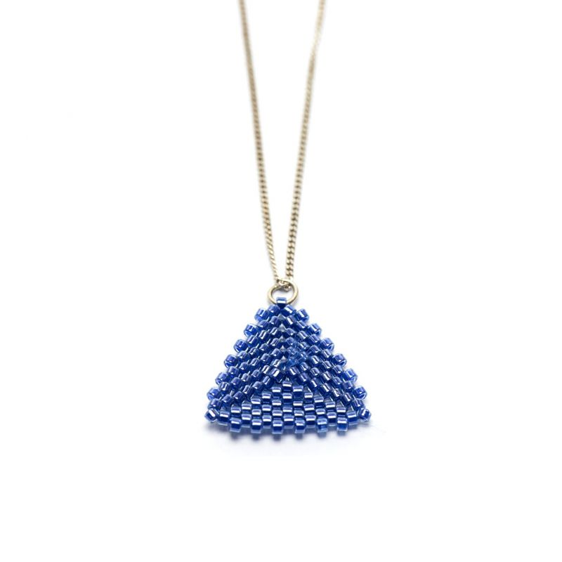 Pendant - Delicas Bead Triangle - Blue