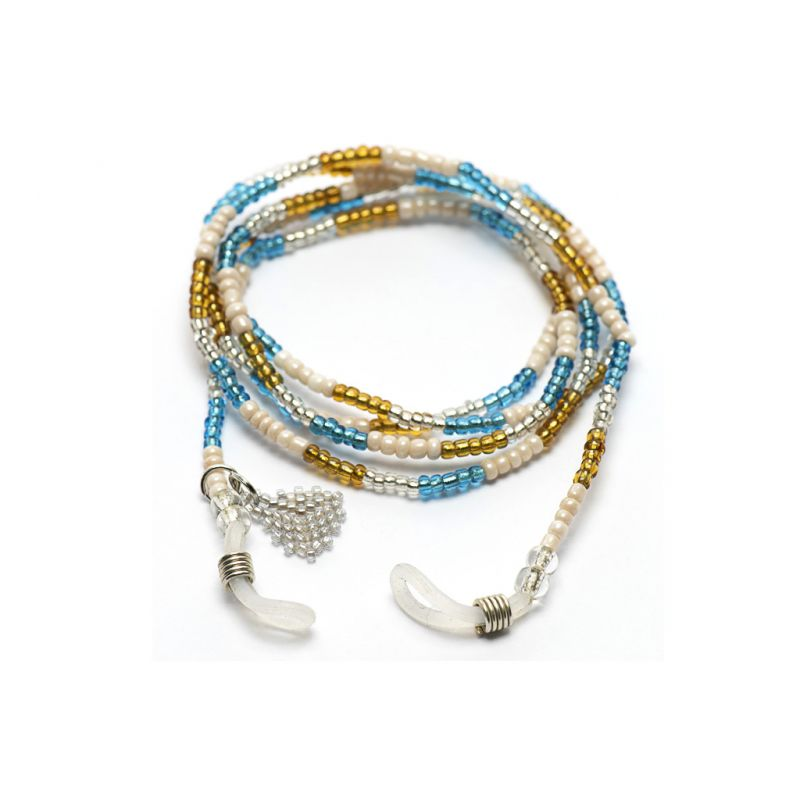 Sunglasses Chain in Seed Beads - Turquoise and Gold