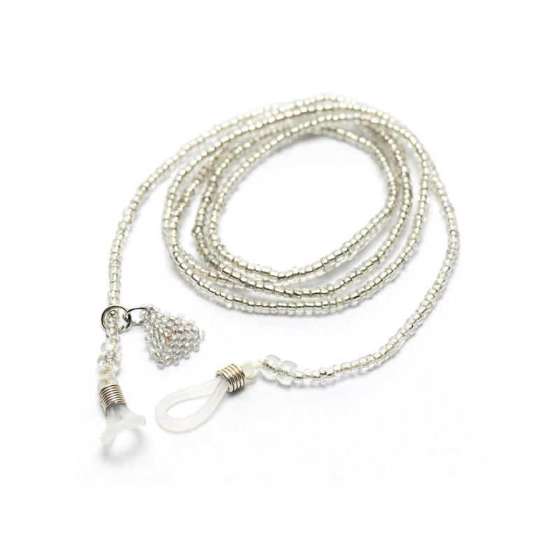 Sunglasses Chain in Seed Beads - White