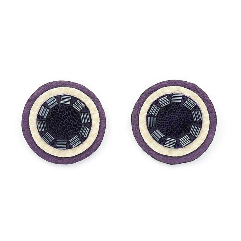 Earrings - Indwe Full Moon Studs - Black Purple
