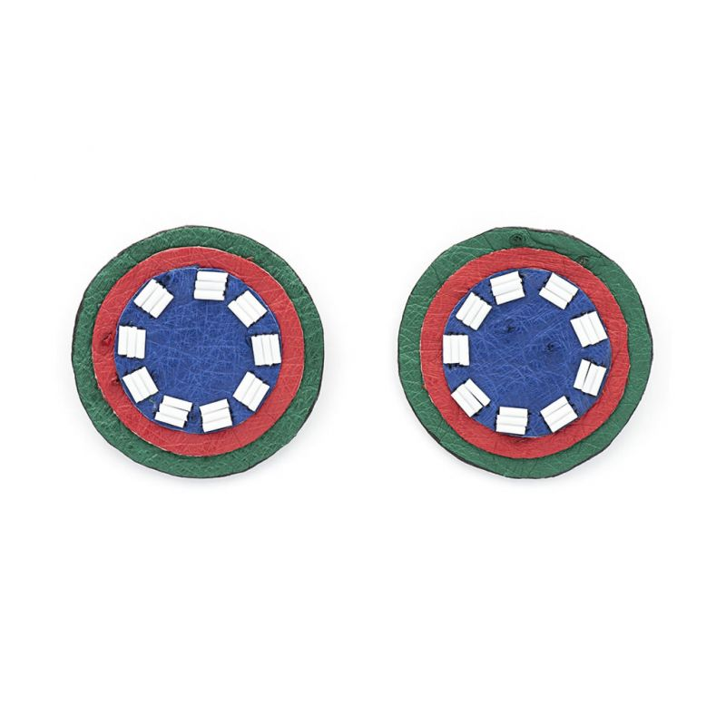Earrings - Indwe Full Moon Studs - Blue Red