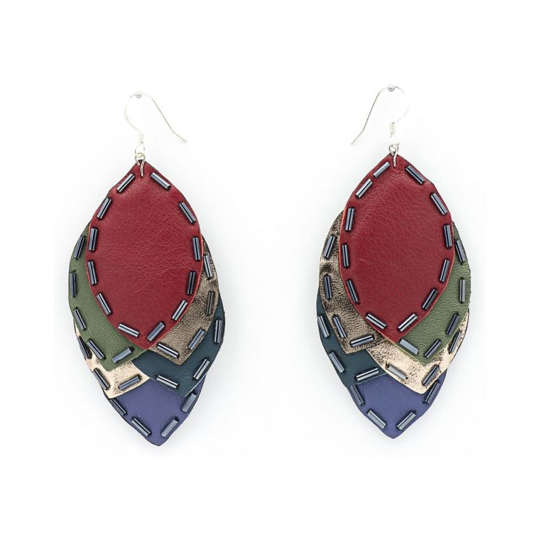 Earrings - Indwe Igqabi - Leaf - Leather - Red