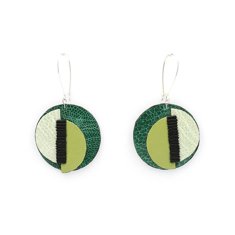 Earrings - Indwe Moon Phases - Leather - Green