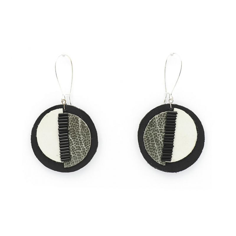 Earrings - Indwe Moon Phases - Leather - Grey