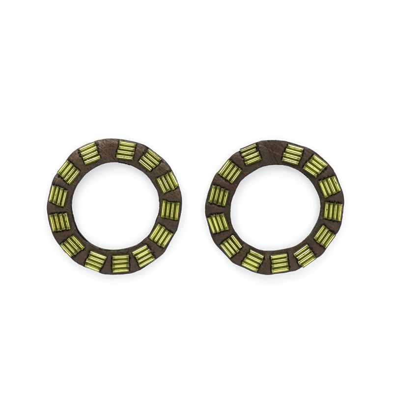 Earrings - Indwe Open Circles - Leather - Green