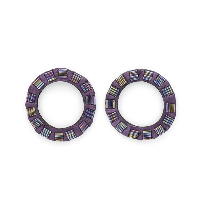 Earrings - Indwe Open Circles - Leather - Purple