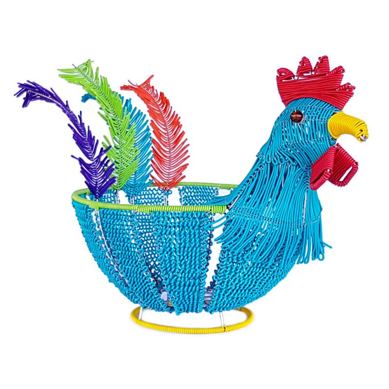 Basket Chicken - Telephone Wire - Turquoise Blue